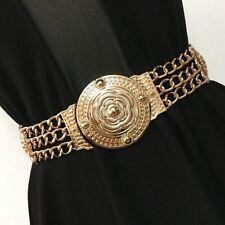 Vintage Women Gold Metal Elastic Stretch Waistband Waist Belt Buckle Retro