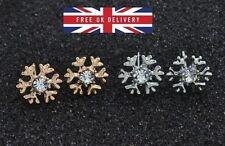 Sterling Silver o Gold Plated Fiocco Di Neve Orecchini a Perno congelato & Confezione Regalo Mini