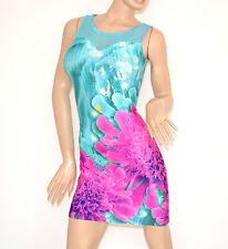Vestito tubino donna mini abito giromanica floreale copricostume abitino 100A