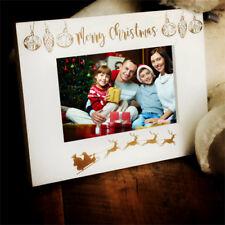 White Wooden Merry Christmas Photo Frame Gift C48W-10