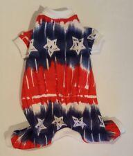 Tie Dye Stars Patriotic Flannel Pajamas PJ's Dog Puppy Pet Clothes XXXS - Large