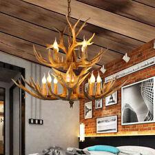 Vintage Antler LED Chandelier Light Retro Deer Horn Restaurant Pendant Lamp Bulb