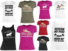 Damen Pferde T-Shirt - Pferde Motiv / Spruch - Damen Trägershirt Reitsport