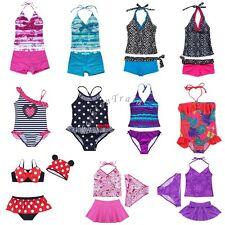Girls Kids Tankini Set Swimwear Bikini Skirt Swimsuit Swimming Costume 2-16Years