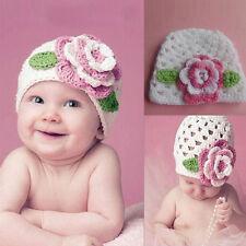Cute Big Flower Baby Cap Kids Infant Toddler Girl Knit Lovely Crochet Beanie Hat