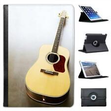 Close Up Of Acoustic Guitar Tan & Red Colour Folio Leather Case For iPad Mini