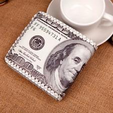 US Dollars Bill Wallet Leather Men's Bifold Wallets 100$ Coin Card Holder Pocket