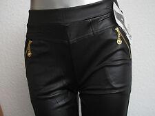 Leggings Wetlook mit Reißverschluß schwarz Damenlegging Leder Optik mit Tasche