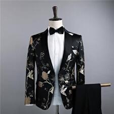 Hot Mens One Button Embroided Jacket Nightclub Floral Wedding Coat Dress Stylish