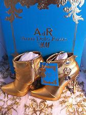 Anna dello Russo AdR Stiefel Boots Stiefeletten Leder Gold High Heels 40