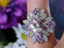 $2,749 STARBURST! NEW SHOPNBC 14K 9.7GR PEACHY MORGANITE MULTI GEM DIAMOND RING