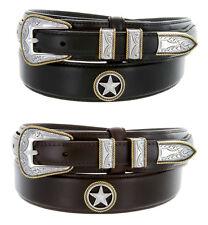 "Gold Star Western Oil Tanned Genuine Leather Ranger Belt 1-3/8"" Wide Black Brown"