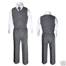 Baby Boy Toddler Wedding Formal Party Graduation 4pcs Vest Sets Dark Gray Suit