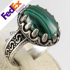 Natural Malachite Stone 925 Sterling Silver Turkish Handmade Men's Ring