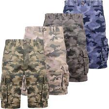 "New Mens Crosshatch Branded Camo Army Canvas Cargo Combat Shorts Pockets 32""-42"""