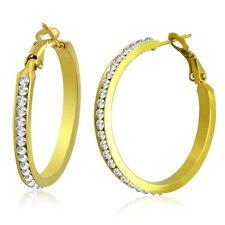 Stainless Steel Hoop Ear rings with CZ