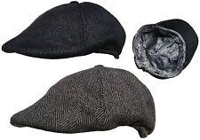 Mens Button Top Flat Cap Baker Boy Cap Country Hats Newsboy Peaked Caps - New