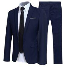 Men Slim fit Long sleeve One button Blazers Jackets Pants Set 2PCS Business Suit
