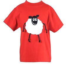 NUOVO sta facendo impazzire Lamb animale ricamato Kids T Shirt Rosso