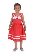 NUEVO niña lazo Algodón Vestido de fiesta en Rojo Blanco Azul 3 4 5 6 7 años