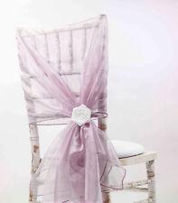 Organza Chaise Capuchons/Tieback 110 cm x 130cm- 65 couleurs disponibles Mariage Chaises