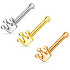 Piercing naso CORONA in acciaio chirurgico oro oro rosa ip Piercing naso borchie