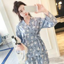 Women Pajamas Set Lounge Pjs Japanese Kimono Cotton Floral Nightwear Sleep Wear
