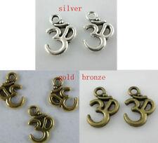 150pcs Om Yoga Silver/Gold/Bronze Tone Charms 16x11mm B216 11356