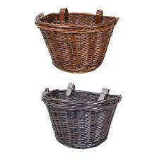 Vintage Wicker Bike Basket Brown Leather Adjustable Strap Bicycle//Cycle//Shopping