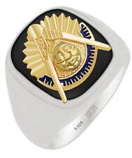 New Customizable Men's Two Tone Silver Gold Masonic Past Master Mason Ring