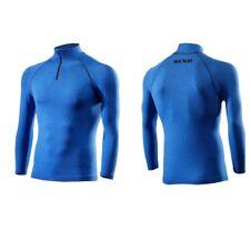 Turtleneck Shirt T-shirt zip long sleeves blue SIXS CARBON MERINO WOOL