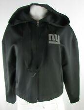 New York Giants NFL Women's Ribbon Drawstring Crop Top Hoodie in Black
