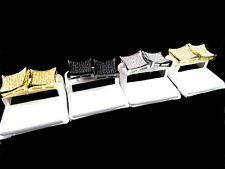 MEN'S BRAND NEW GOLD FINISH DIAMOND SIMULATE XXL KITE SQUARE STUD EARRINGS 17MM