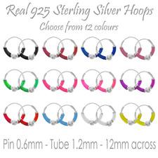 Real Silver Sterling Colour Hoop Earring For Girl Boy Ethnic Sleeper Ear Stud