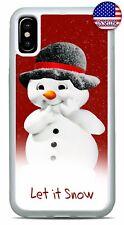 Cute Snowman Christmas Winter Snow Case Cover iPhone Xs Max XR X 8 7 6 Plus 5 4