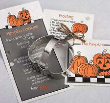 NEW Ann Clark Tin Pumpkin Cookie Cutter w/ Recipe Card Attatched Made USA