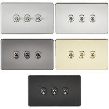 Knightsbridge Screwless 10A 10 Amp 3G 3 Gang 2 Way Toggle Light Switch Plate