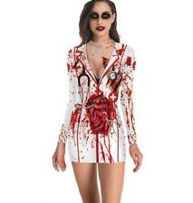 Women Halloween Nurse Zombie Print Dress Round Neck Long Sleeve Skirt Petticoat