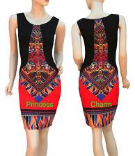 Ethnic Print Bodycon Pencil Day Dress Black Red Blue Sleeveless Size 8 10 12 16