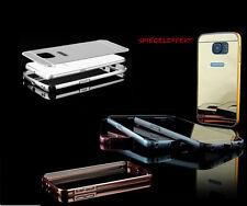 Samsung Galaxy S6 EDGE BUMPER LUXURY + DECKEL SPIEGEL HardMetal Case Cover Hülle