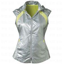 NWT Ladies EP Pro Sport SILVER Gray Yellow Windbreaker Golf Vest - L & XL