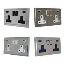 G&H Brassware Brushed Steel Polished Chrome 13A 2.1A USB Double Plug Sockets