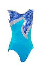 Gymnastic Leotard no sleeves sparkly velvet 28 30 32 FAST DELIVERY UK