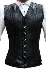Men Black Ostrich Pvc Real Steel Bones Lace Up Back Vest Corset S~7XL