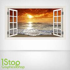Adesivo Parete Spiaggia Tramonto a colori-salotto camera da letto finestra w58