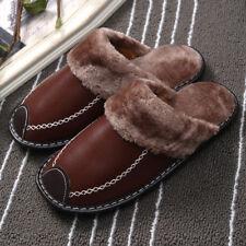 Men's Slipper Winter Warm Leather Indoor Flats Plush Non-slip Slipper ShoesComfy