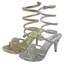 Womens Wrap Ankle Strap Stiletto High Heel Rhinestone Dressy Evening Shoes Sizes