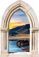 Sticker mural trompe l'oeil Arche déco coucher de soleil réf 865