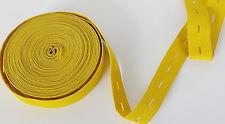 20mm Giallo Senape BOTTONE FORO OCCHIELLO ELASTICO Woven Fascia Vita IDEA cucire