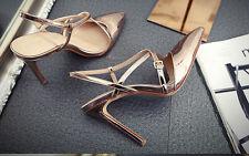 Décollte Zapatos zapatos de salón mujer tacón de aguja sandalias 10 cm mode oro